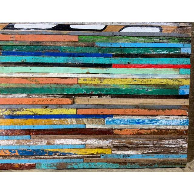Turquoise Abstract Reclaimed Wood Wall Sculpture For Sale - Image 8 of 13