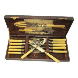 1930s Bone Handle Fish Set - 14 Pieces For Sale