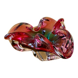 Italian Blown Glass Sensual Free Form Decor Bowl For Sale