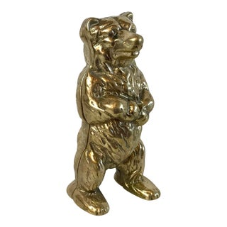 Vintage Brass Standing Bear Bank For Sale
