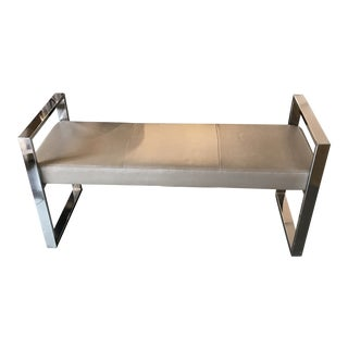 Modern Bench With Faux Snake Skin For Sale