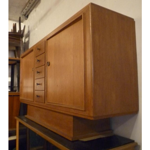 Maxime Old stamped superb oak 2 doors and drawers cabinet.