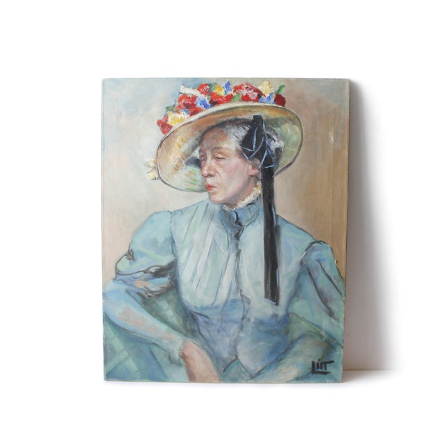 Lovely original portrait painting of a woman wearing a bonnet hat by American artist Walter Litt, circa early 1960s. Oil...