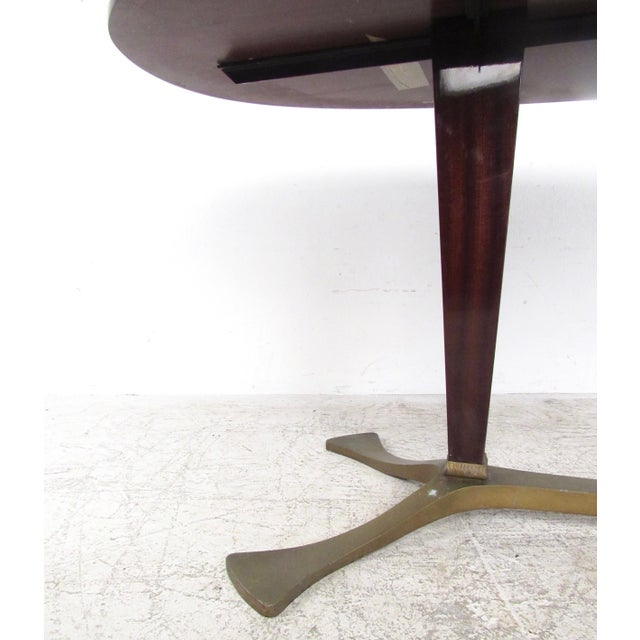 Brass Italian Glass Top Dining Table For Sale - Image 7 of 10