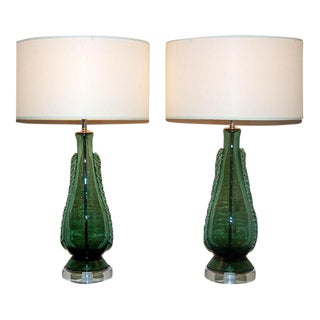 Vintage Murano Glass Table Lamps With Rigaree in Green For Sale