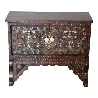 Wooden Carved Side Table With Mother of Pearl For Sale