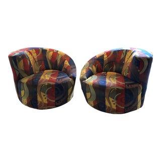 Late 20th Century Vladimir Kagan Design Nautilus Swivel Chairs- a Pair For Sale