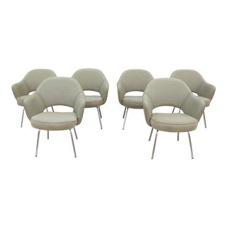 Mid-Century Modern Eero Saarinen for Knoll Green Executive Arm Chairs - Set of 6