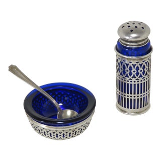 1950s Sterling Silver & Cobalt Glass Salt & Pepper Set For Sale