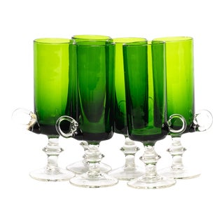 1960s Green Cordial Glasses - Set of 6 For Sale