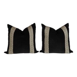 Black Velvet Greek Key Pillows, a Pair For Sale
