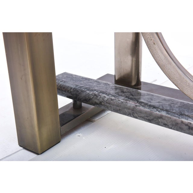 American Modern Chrome, Brass and Glass Dining Table, DIA For Sale In Miami - Image 6 of 10