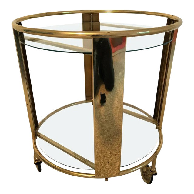 Italian Modernist Design Round Polished Brass Bar Cart - Image 1 of 9