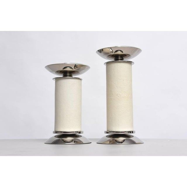 1970s Karl Springer Candlesticks Ivory-Colored Shagreen and Nickel-Plated - 2 Pieces For Sale - Image 5 of 8