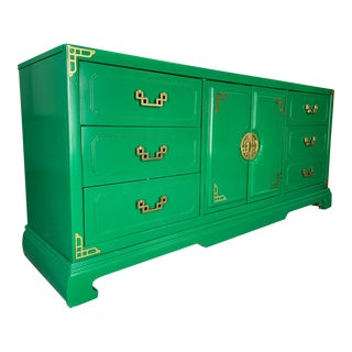 Green Lacquered Asian Chinoiserie 9 Drawer Dresser For Sale