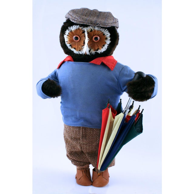 Fabulous vintage A&F Owl Golfer with multi-colour brolly stick & tweed cap — from the 1960's .