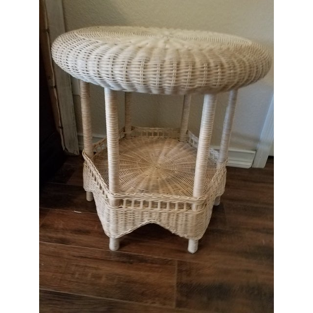 Wicker Vintage Asian Handcrafted Woven Rattan/Wicker Accent Table For Sale - Image 7 of 7