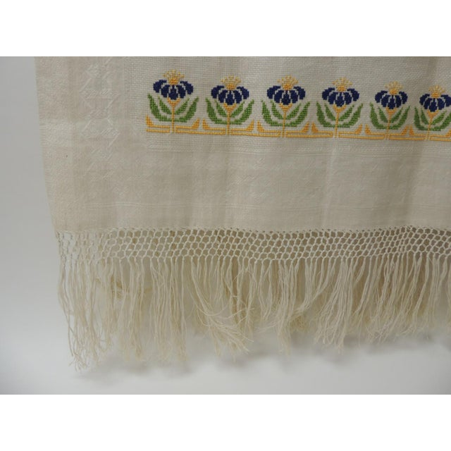 Boho Chic Antique Woven Floral Turkish Towels With Hand-Knotted Fringes For Sale - Image 3 of 6