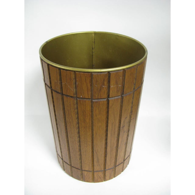 1960s 1960s Walnut Gruvwood Waste Basket by National Products Inc. For Sale - Image 5 of 10