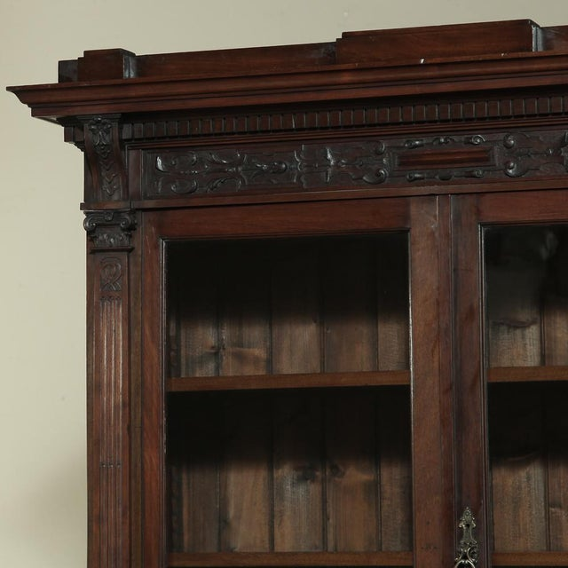 Wood 19th Century Renaissance Revival Bookcase With Angels~ Putti For Sale - Image 7 of 13