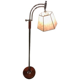 Bridge Floor Lamp With Mica Shade in the Style of Deskey or Rohde For Sale