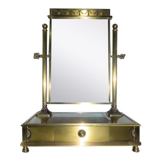 Italian Brass Vanity Mirror With Drawer For Sale