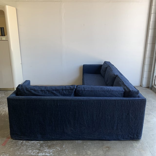 Navy Blue Cisco Brothers Vista Sectional From Urban Natural For Sale - Image 8 of 13