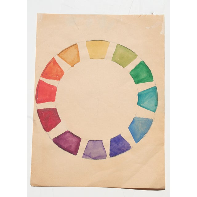 Original vintage watercolor on paper. Vibrant study of color by Kathryn Bernard. Unframed. Small tear along left edge and...