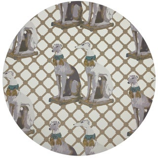 """Nicolette Mayer Regal Greyhound Luxe 16"""" Round Pebble Placemats, Set of 4 For Sale"""