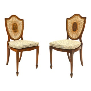 English Sheraton Shield Back Side Chairs, Pair For Sale