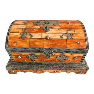 Vintage Moroccan Berber Jewelry Chest - Hand-Carved Bone For Sale