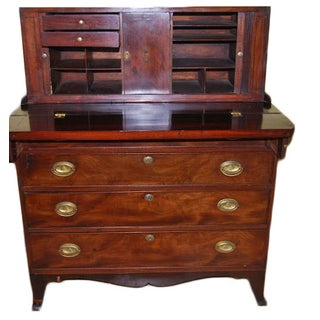 Federal Mahogany Tambour Secretary Chest For Sale