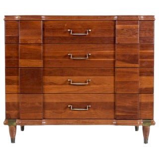 Cherry Bachelors Chest by Hickory Mfg With Brass Bullet Shaped Handles For Sale