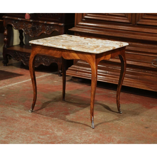 18th Century French Louis XV Mahogany Occasional Table With Marble Top For Sale - Image 9 of 9