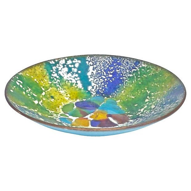 Vintage; 1910-1950, Mid-Century Modern, enameled metal dish with hand-painted abstract design on the interior bronze...