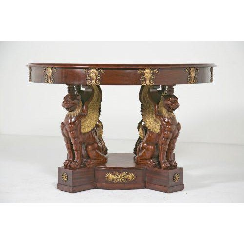 19th Century Large Baltic Neoclassical Giltwood Center Table For Sale - Image 4 of 10
