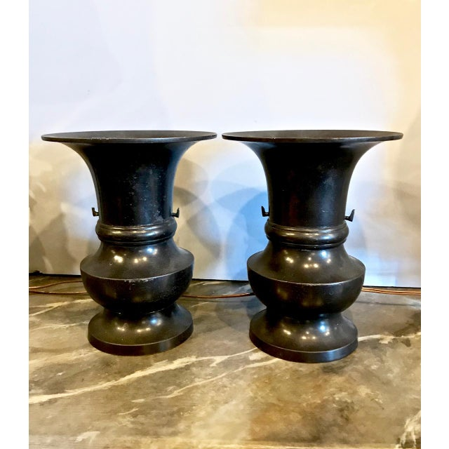 Metal Japanese Bronze Urns, 19th C. For Sale - Image 7 of 8