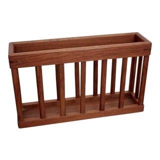 Danish Modern Style Wall-Mounted Teak Magazine Rack For Sale
