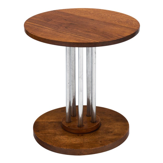 French Architectural Oak on Chromed Steel Tubes Gueridon Table For Sale - Image 10 of 10