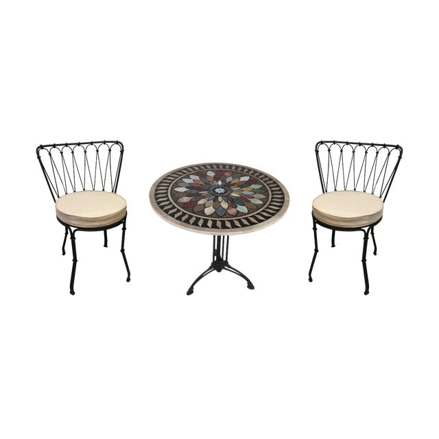 Art Deco Cast Iron Base Table With Pietra Dura Specimen Top and 4 Iron Chairs For Sale