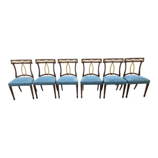 Late 20th Century Baker Furniture Curved Italian Gold Leaf Regency Dining Chairs, Set of Six For Sale