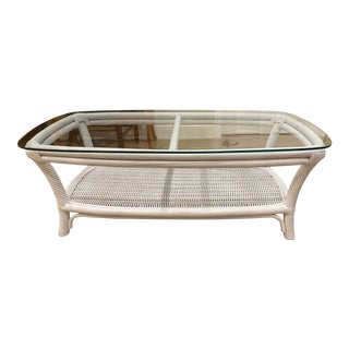 Farmhouse Palm Beach White Twisted Rattan and Wicker Coffee Table For Sale