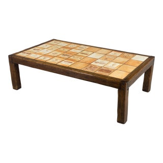 Roger Capron Wine Label Oak Coffee Table For Sale