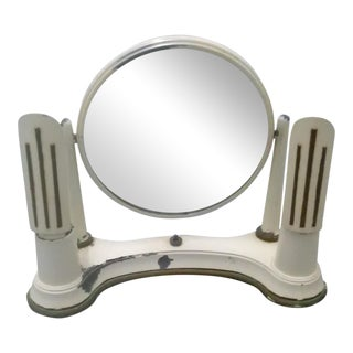 Art Deco Lighted Makeup Mirror in Steel