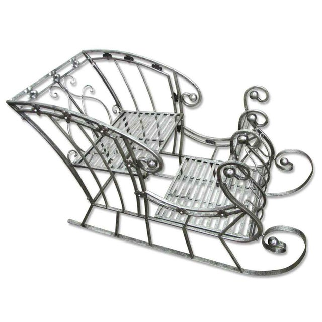 Vintage Wrought Iron 'Sleigh' Plant Stand For Sale - Image 11 of 11