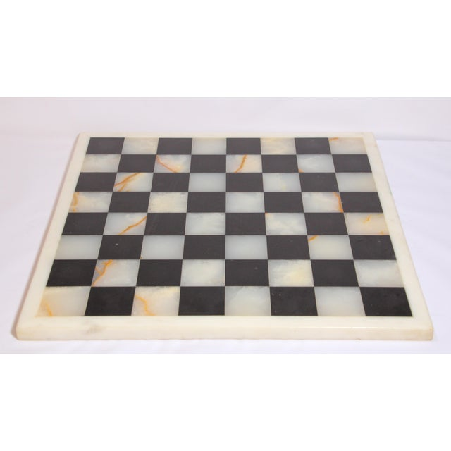 Black Vintage Marble Chess Board With Hand Carved Black and White Onyx Chess Pieces For Sale - Image 8 of 13