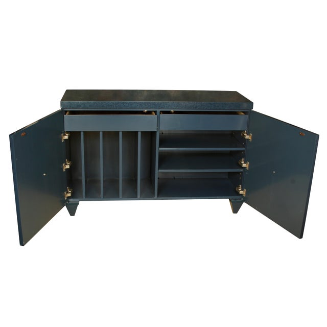 Modern Navy Lacquered Wood Serving Cabinet with Brass Knobs For Sale - Image 4 of 5