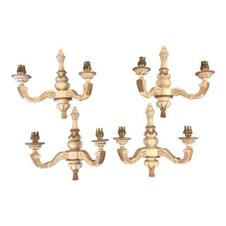 Carved Wood Ivory Colored Sconces - Set of 4