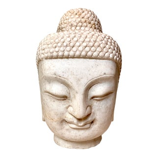 Late 19th Century Antique White Marble Carved Buddha Head For Sale