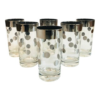Mid Century Silver Silver Polka Dot Highball Glasses - Set of 6 For Sale